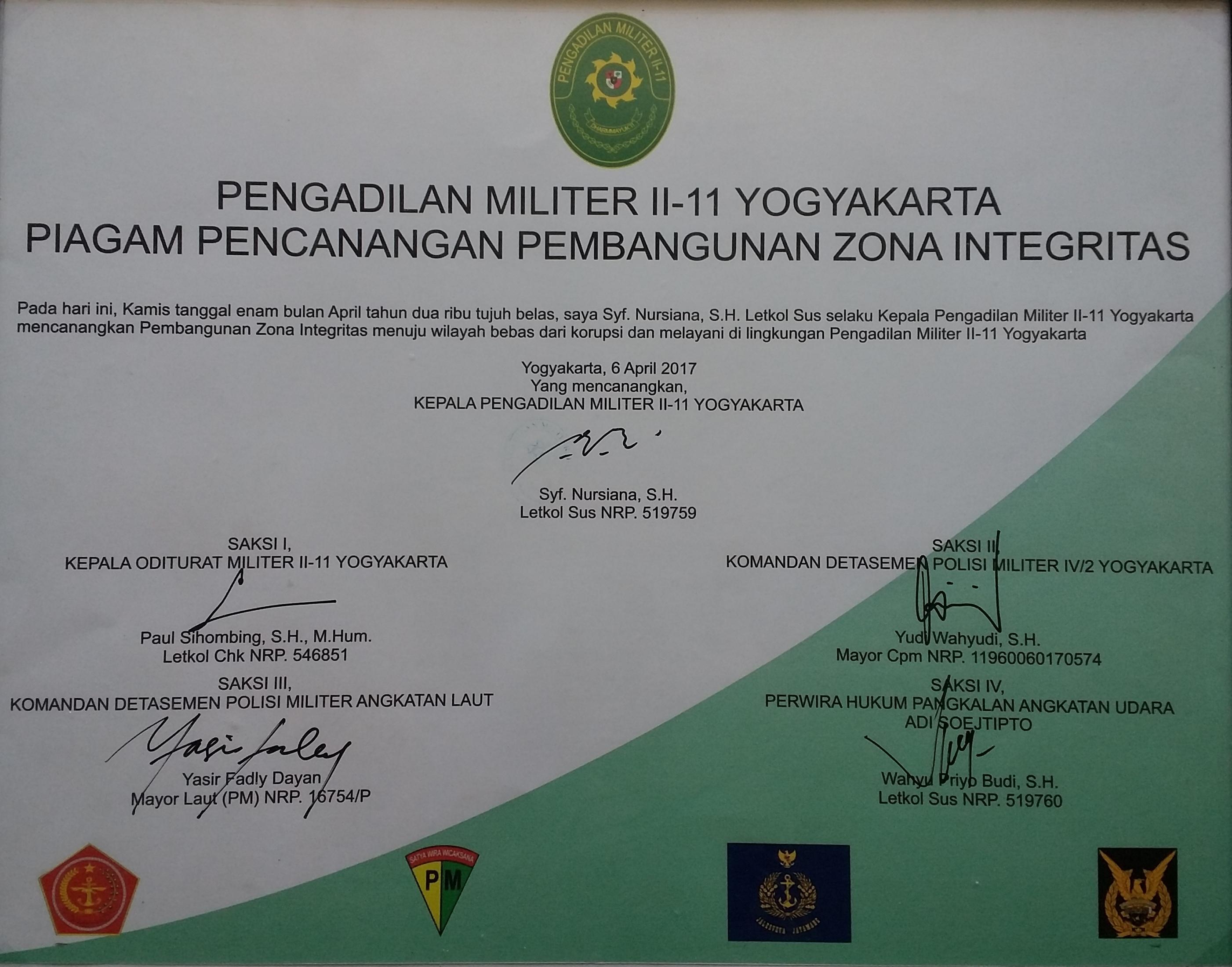 Pencanangan Zona Integritas Pengadilan Militer Ii 11 Yogyakarta